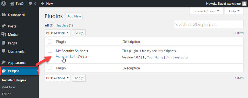Activating security snippets plugin