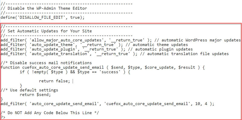 Highlighting snippet at bottom of security snippets plugin