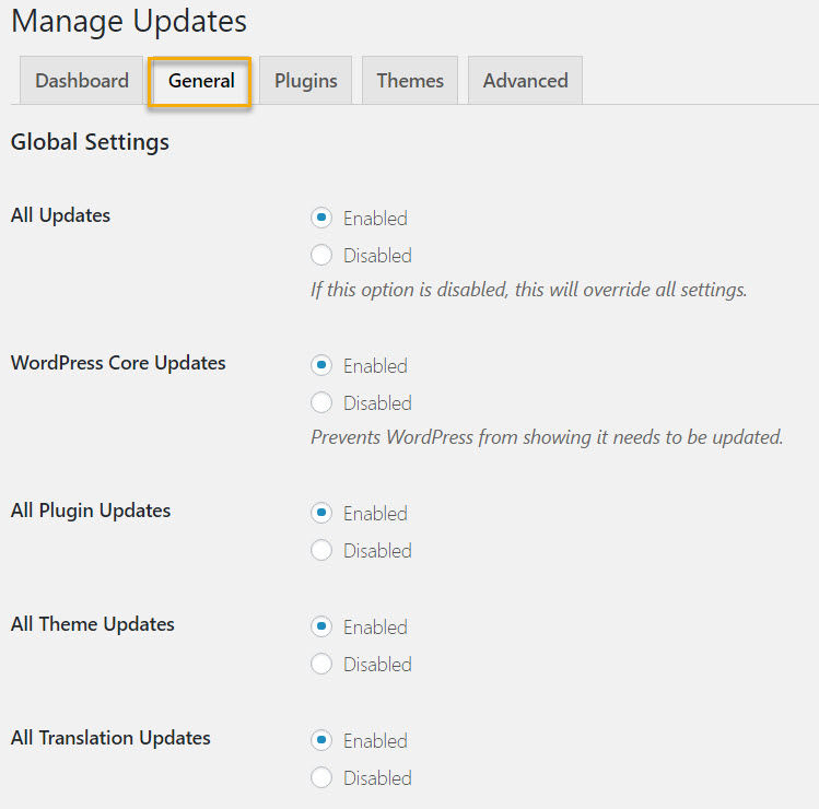 Easy Update Manager's general settings page