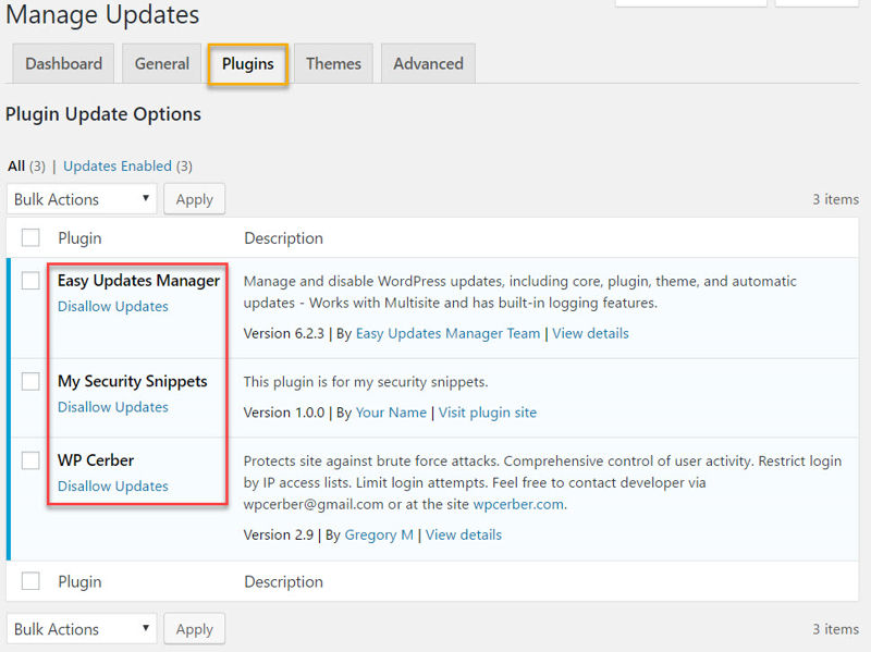 Easy Update Manager's plugins tab settings