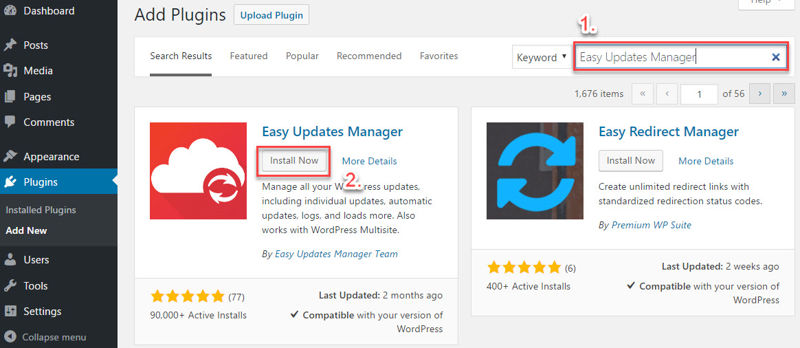 Installing the Easy Updates Manager plugin