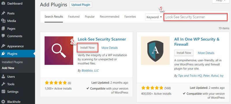 Installing the Look-See Security Scanner plugin