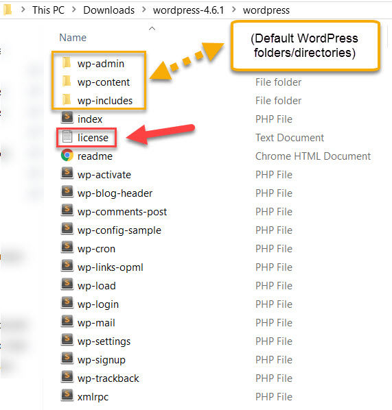 Highlighting license.txt file in WordPress installation