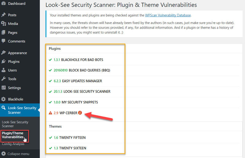 Look-See Security Scanner's vulnerability detection and history page