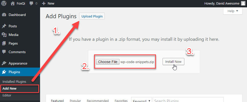 Uploading the WP Code Snippets plugin